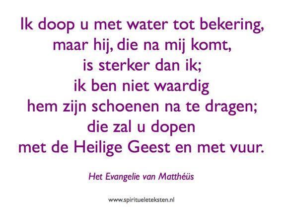 Johannes de Doper doopt in water citaat spirituele teksten Mattheus evangelie