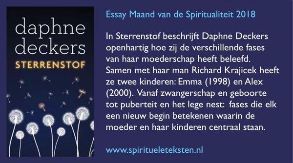 essay maand van de spiritualiteit De maand van de spiritualiteit bestaat sinds 2007 en is een initiatief van de kro, dagblad trouw en uitgeverij ten have het essay is tijdens de maand voor 2,50 euro te koop in de boekwinkel.